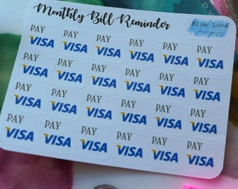 Monthly Bill Reminder Stickers - Bill Reminder Sticker - Credit Card Bill Reminder - Mini Planner Sticker - Mini Bill Reminder - VISA
