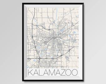 KALAMAZOO Michigan Map, Kalamazoo City Map Print, Kalamazoo Map Poster, Kalamazoo Wall Art gift, Custom city, Western Michigan University