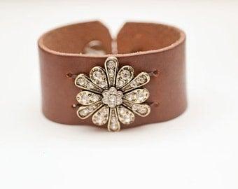 Leather Cuff Bracelet, rhinestone flower