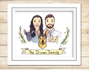 Unique Gift Custom Family Portrait Watercolor Illustration Couple Gift Anniversary House Warming Gift Wedding Present Portrait Family Gift