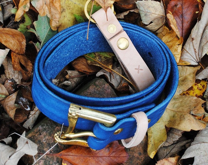 "Clobbercalm X Pigeon Tree Crafting Collaboration Belt- 1.5"" Indigo Quick Release with Natural Vegetable Tanned Leather Keeper Made to Order"