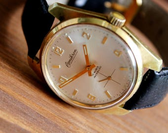 Men's Swiss Watch OMIKRON, Collectibles 1960s SWISS WATCH, Rare Vintage Watch, Leather Watch, Wrist Watch, Mechanical Watches, Gold Plated