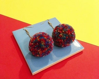 Multicoloured pompom earrings, jewel toned drop earrings, gold plated chain and fish hook, festival fashion, boho jewellery, valentines gift