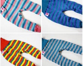 Striped wool longies! 100% merino! Super soft! M/L