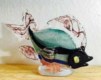 Colored Glass Fish Art Sculpture