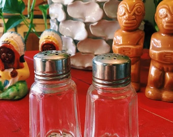 Vintage Glass Salt + Pepper Shakers