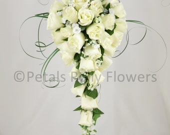 Artificial Wedding Flowers, Ivory/Cream Rose Brides Teardrop Bouquet
