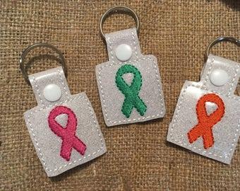 Cancer Awareness Ribbon Keychains , Cancer Awareness Keyfobs, Cancer Keychains, Survivor Keychains, Survivor Keyfob