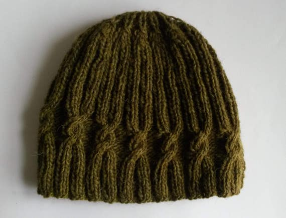 Wool knit beanie: original design with spiral cable. Handspun Irish wool. Made in Ireland. Khaki green. Aran cable hat. Unique knit beanie.