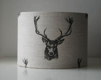 Stag head Deer Head Forest Grey Linen Drum Lampshade.