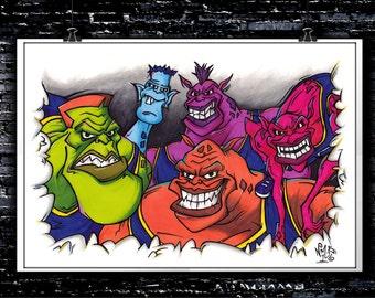 bupkus, bang, pound, blanko & nawt (the monstars) space jam art ... - Space Jam Monstars Coloring Pages