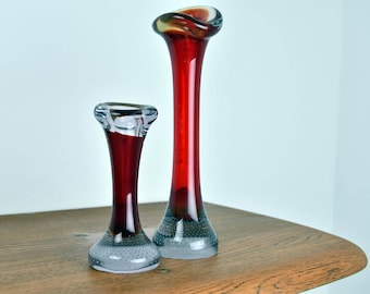 Pair of Retro 'Jack in the Pulpit' 'Bone' Vase in Red Cased Glass with Controlled Bubble Paperweight Base