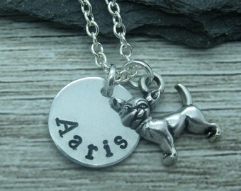 Chihuahua hand stamped necklace, chihuahua jewellery, chihuahua necklace, chihuahua gift, chihuahua pendant, personalised chihuahua gift