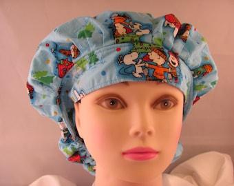 Women's Bouffant Scrub Hat Charlie Brown Christmas