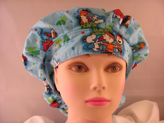 Women's Bouffant Scrub Hat Charlie Brown Christmas