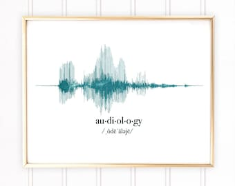 Audiology Gift, Audiologist Gift, Sound Wave Art Print, ENT Gifts, Ears Nose and Throat, ENT Gift Idea, Otolaryngologists Gift