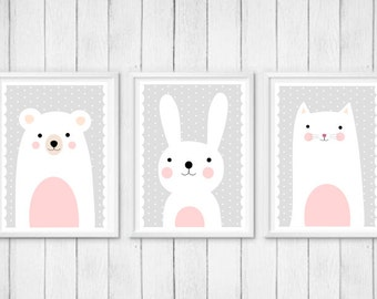 Set of Three Nursery Art Prints , Kids Wall Art, Animals