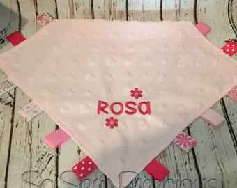 Baby Tag Blanket, Taggie, Comforter, Personalised, Pink, personalized blankie, hearts