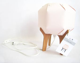 wooden and paper lamp / handmade / origami table lamp / powdery pink lamp