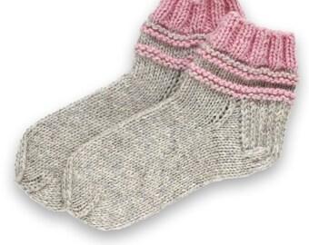 Socks slippers hand knitted, wool socks, warm socks, gift socks, knitted socks, winter socks, grey slippers, grey socks, pink socks