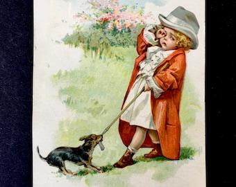 Cute Little Victorian Era Scrap-Dog Steals Golf Club From Distraught Little Girl