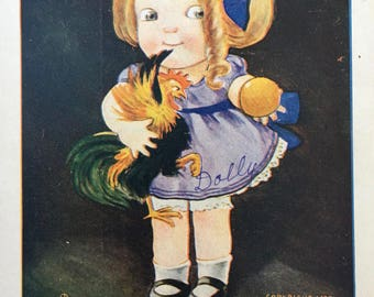 Sweet 1907 Postcard by Ullman: Little Girl with Chicken