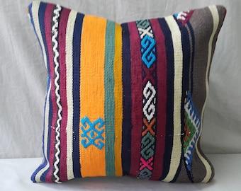 "Kilim Pillow, 1'3""1'3"" Feet 40×40cm, Decorative Kilim Pillow, Cushion Cover, Pillow Cover, Throw Pillow, Tribal, Turkish, Aztec, Authentic"