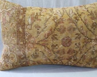 "Kilim Pillow, 16""×24"" Inches, Decorative Kilim Pillow, Cushion Cover, Decorative Pillow, Lumbar Pillow, Yellow Pillow, Turkish Carpet Pillow"
