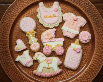 Baby Shower Sugar Cookies with Royal Icing Decoration