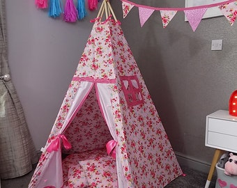 large childrens teepee by chookeys luxury pink floral  with free personalised name in glitter fabric above door