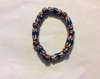 Red, White, and Blue African Trade Bead Bracelet