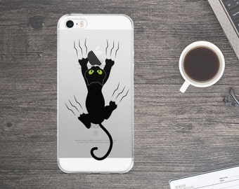 Black cat Case - Black cat iPhone Case - Cat iPhone Case - Cute iPhone Case - Funny Cellphone Case - iPhone Case - Cartoon iPhone Case
