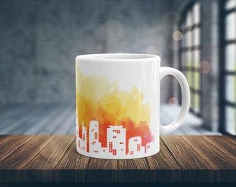 Sunrise in City Coffee Mug, City Mug, Ceramic Mug, White Coffee Mug, Unique Coffee Mug, Glossy Coffee Mug, Coffee Cup, 11 oz mug