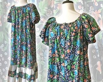 Vintage Bohemian Floral Tiered Trapeze Dress