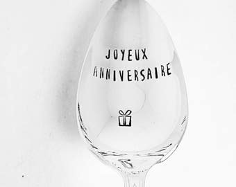 Joyeux Anniversaire / Happy Birthday / Birthday Gift /Gift Under 20 / French Spoon / Cuillere Gravé / Spoon With Saying / Special Birthday