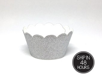 12 pcs scallop Silver Glitter Cupcake Liner wrapper for Birthday Wedding Baby Shower Bachelorette Anniversary Party Decoration