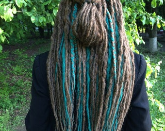 Full set of medium brown and dark emerald long crochet synthetic double ended DE dreads natural dreadlocks full head hair extensions