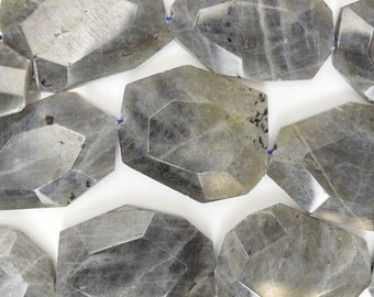 "34-36mm faceted grey labradorite freeform slab nugget beads 15.5"" strand 38545"