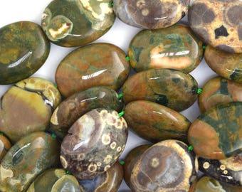 "13x18mm rhyolite flat oval beads 15.5"" strand S1 36623"