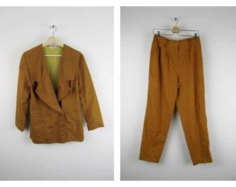 Vintage Linen Suit / 60s Mustard Orange Gold Two Piece Jacket Pants Set Paris Designer Sailor / Medium M Large L