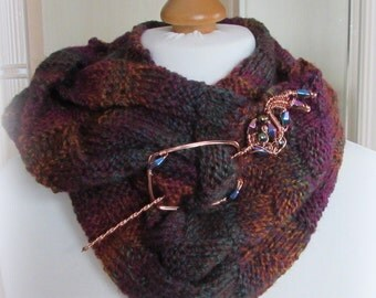 Hand Knitted Scarf and Pin Moorland Bracken