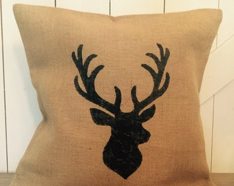 Stag/Deer Silhouette, Christmas pillow, Burlap pillow