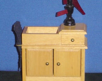 "Doll House: Old Fashion Wash Stand with Water Pump (4 3/4""x3 3/4""x2"") -pre-owned"