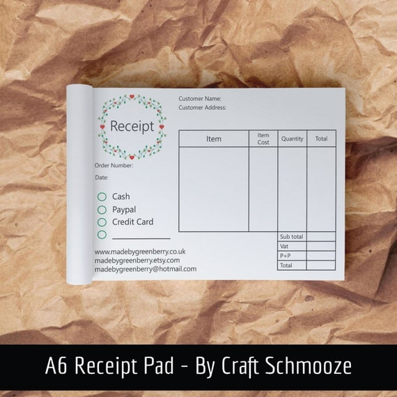 Receipt pad, receipt book, A6 pad, Business stationery, cash book, branded stationery, business orders, order book, business notebook