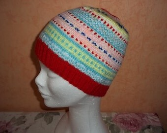 colorful, hand-knitted Peru hat for kids or adults