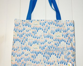 Reversible Tote Bag. Errand Bag. Library Bag. Gifting Bag. Blue and White with Peach Tulips. Grey Bunnies and Flower Lining