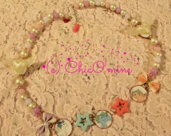 80's Inspired My Little Pony Beaded Statement Cameo Necklace- Fairy Kei, Sweet Lolita, Kawaii