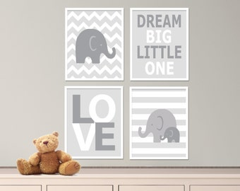 "Printable Elephant Nursery Art Print Set, Suits Baby Nursery, White & Gray Nursery Decor, Set of 4 - 8x10"" Digital Instant Download -S167"