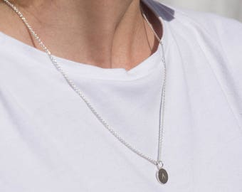Tag necklace initials (length - 60 cm, material - gold plated (Rosé))