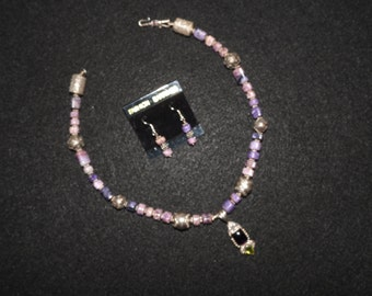 18 in Amethyst Lapis and crystal, 925 Bali Silver necklace